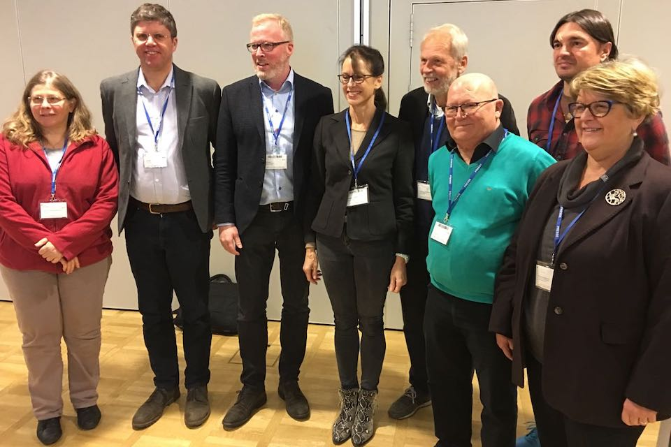 The newly elected (Nov 2018) ENAJ management committee, l-r: Yanne Boloh (France), Adrian Bell (UK), Damien O'Reilly (Ireland), Katharina Seuser (Germany), Hans Siemes (Netherlands), Jef Verhaeren (Belgium), Vedran Stapic (Croatia) and Lisa Bellochi (Italy). Adrian Krebs (Switzerland) was unable to attend the AGM.